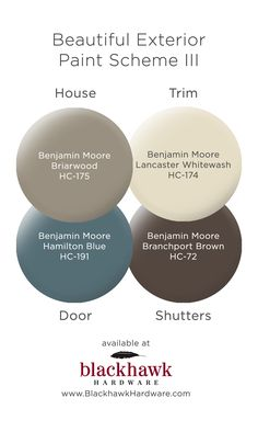 Exterior Paint Schemes for Your Charlotte House Beautiful Benjamin Moore Exterior Paint Scheme Benjamin Moore Exterior Paint, Exterior Paint Schemes, Exterior Paint Colors For House, Paint Colors For Home, Stucco Colors, Exterior House Colour Schemes, Exterior Doors, Diy Exterior House Painting, Benjamin Moore Brown