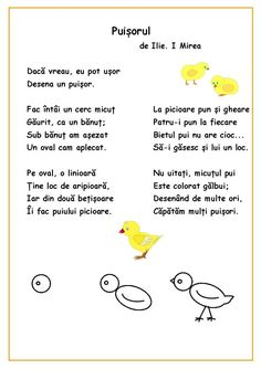 Citim, desenăm, colorăm - Puișorul Educational Activities For Kids, English Activities, Infant Activities, Preschool Activities, Kids Learning, Kindness Activities, Kids Poems, Vintage School, Kids Education