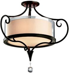 Ceiling Fans Decoration | 42866SWZ Lara 2LT SemiFlush Shadow Bronze Finish and Clear Outside Glass with OffWhite Inside Fabric Shade * Check out this great product. Note:It is Affiliate Link to Amazon. #love