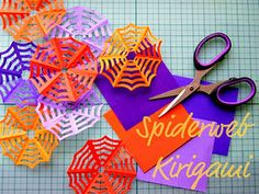 These webs are very cute with a spider ring or two attached and some fun Halloween ribbon to hang them. They are easy enough that I was able to do them with my third graders :-) Talk about an inexpensive craft!