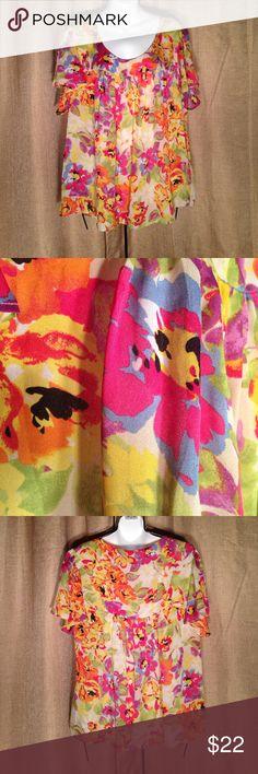 "Rafaella Women's Plus 3X Top Gorgeous Floral Print Polyester Women's Plus 3X Top Length from shoulder 26"" Rafaella Tops Blouses"