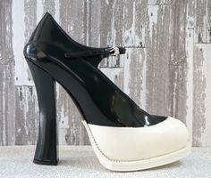 04fd1c6d1bec PRADA Black and White Leather Colorblock Mary Jane Pumps Platform Heels 8  NEW  Prada  MaryJanes  WeartoWork