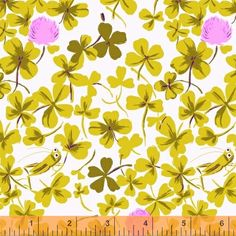 On SALE Pre-Order 1/2 yard Heather Ross BRIAR ROSE Cricket Clover in Lilac - MUST PURCHASE.