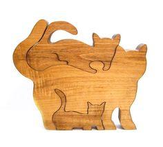 Puzzle madera vintage hecho a mano gato / por VintagePennyLane