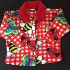Bug In A Rug Toddler 3T Fleece Jacket Bumblebee Butterfly Ladybug Red Button Up   | eBay