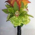orange calla green orchid hydrangea calgary wedding flower bouquet