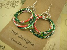Recycled Soda Can Art  Stacked Hoop Circle Earrings   by jillmccp