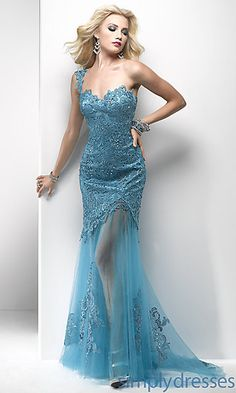 Long Lace One Shoulder Sheer Skirt Dress by Flirt at SimplyDresses.com