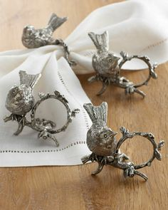 """""""Song Bird"""" Napkin rings These remind me of all the antique napkin rings my nana had. We put them out for holiday dinner parties along with salt and pepper wells. Ahhhhh, when tradition meant something!"""