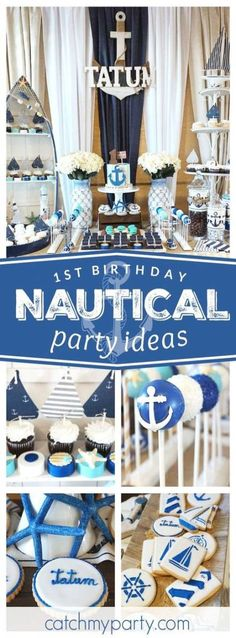 Don't miss this incredible Nautical birthday party. The cake pops are adorable! Anchor Birthday Parties, Nautical Birthday Cakes, 1st Birthday Boy Themes, Birthday Ideas, Birthday Recipes, Cake Birthday, Birthday Bash, Nautical Cake Pops, Nautical Party