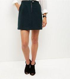 Dark Green Zip Front Mini Skirt | New Look