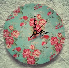 Floral Vintage Wall Clock by BrighterTimes on Etsy, £10.00
