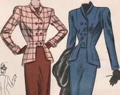 Costume des années 1940 vogue FF 5945 couture Vintage motif Misses, Peplum tailleur veste, jupe Slim taille 16 buste 34