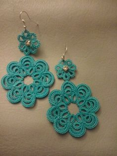 Tatting Earrings, Tatting Jewelry, Lace Earrings, Crochet Earrings, Crochet Jewelry Patterns, Tatting Patterns, Needle Tatting, Tatting Lace, Flower Tat
