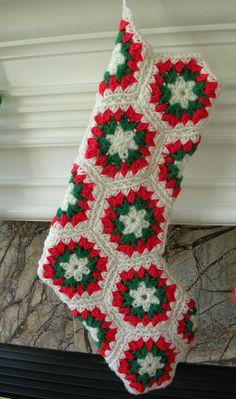 Christmas Stocking Crochet Hexagon Pattern by BernoullisAttic