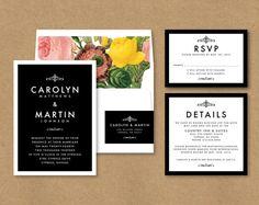#Modern elegant #floral #wedding #invitation