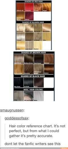 Hair colors for writing help