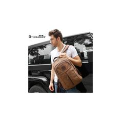 Leather-Detail Canvas Backpack Brown ($38) ❤ liked on Polyvore