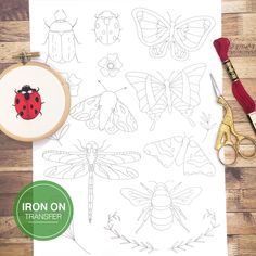 Iron on Embroidery Transfer Patterns, Bee, Butterfly, Insect, Dragonfly, Ladybird Modern Hand Embroidery Design, Iron On Embroidery Patterns Cactus Embroidery, Iron On Embroidery, Simple Embroidery, Embroidery Transfers, Modern Embroidery, Hand Embroidery Patterns, Vintage Embroidery, Embroidery Supplies, Embroidery Kits