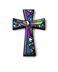 """Mosaic Wall Cross, Black with Iridescent + Textured Glass + Silver Mirror, Handmade Stained Glass Mosaic Design, 12"""" x 8"""" by GreenBananaMosaicCo"""