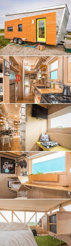 The Kinetohaus was designed and built by Davis Richardson as a project while attending University of Texas at Austin. The goal was to make a tiny house on wheels for under $25,000, in nine weeks, so he could live in it while attending graduate school.