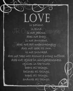 Chalkboard Art Printable Digital Download File - 1 Corinthians 13:4-7 Love is Patient, Love is Kind Bible Verse Valentine's Chalkboard Art