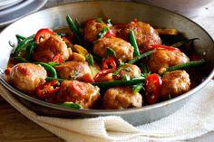 Fragrant and zesty Thai chicken meatballs in a creamy coconut curry sauce served with steamed jasmine rice.  um, hellloooooooo