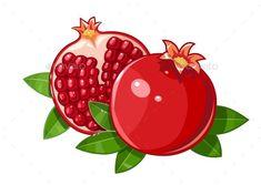 Pomegranate Fruit with Stylized Leaf