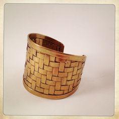 vintage cuff bracelet woven brass