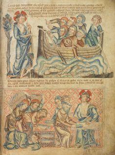 Чудесный улов на озере Тивериадском. Приготовление трапезы; Англия; XIV в.; памятник: Библия (Bible ('Holkham Bible Picture Book'). 1327-1335гг.