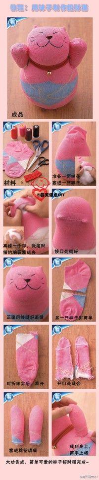 When I can sew better... Super Cute Sock Kitties!!!