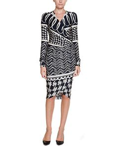 Some of you have to get in on this: Max Mara Eneide Midnight Blue Print Faux Wrap Dress