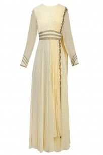 Ivory and Gold Beads Embroidered Floor Length Gown