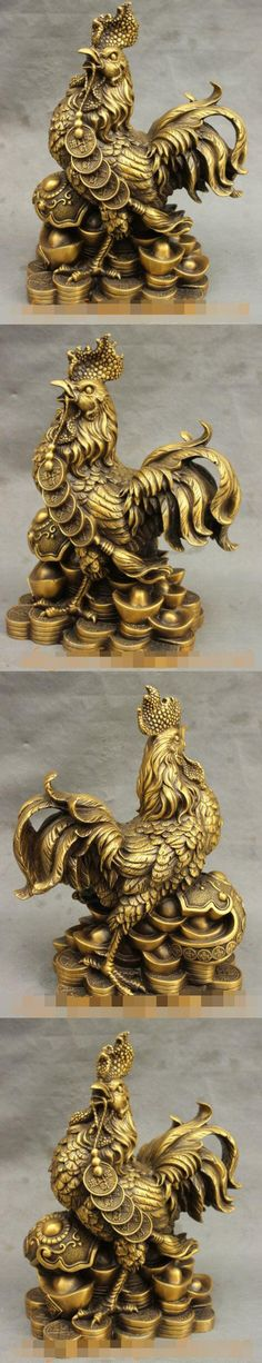 Song voge gem S7295 12 Lucky Chinese Pure Bronze Wealth RuYi Coin YuanBao Zodiac Cock Rooster Statue $305