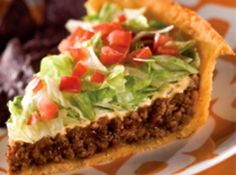 TACO PIE Recipe - wonder what would happen if you subbed traditional mexican corn masa for their potato crust...