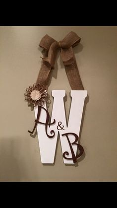 Wooden Letter Doorhanger by HappilyMadebyHeather on Etsy Diy Letters, Letter A Crafts, Wood Letters, Decorating Wooden Letters, Picture Letters, Cute Crafts, Creative Crafts, Diy And Crafts, Arts And Crafts