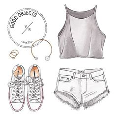 Good objects - #tgif ! White and grey outfit #goodobjects #watercolor
