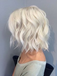 Icy platinum blonde hair in a long bob. #hairgoals