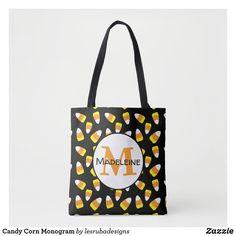 Candy Corn Monogram Tote Bag