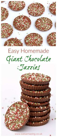 *freckles* Really easy giant chocolate jazzies recipe - these fun giant chocolate buttons are a great gift idea for kids to make for Christmas - Eats Amazing UK Christmas Craft Fair, Christmas Cooking, Christmas Desserts, Christmas Treats, Homemade Christmas, Christmas Recipes, Christmas Hamper, Xmas Food, Christmas Foods
