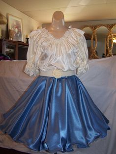 "I would love to wear this outfit -- satin square dance skirt - 18-22"" length/available in 4 colors on Etsy, $39.95"