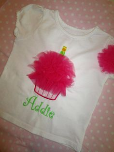 Personalized Birthday Girls Tulle Cupcake T-Shirt - Tutu Cupcake Applique Girls TShirt with Matching Hair Puff