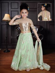 Shop Party wear lehenga choli in sea green color online from G3fashion India. Brand - G3, Product code - G3-GCS0555, Price - 5295, Color - Green, Fabric - Silk,