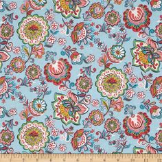 Riding Hood Babushka Light Blue from @fabricdotcom  Designed by Josephine Kimberling for Blend Fabrics, this cotton print is perfect for quilting, apparel and home decor accents. Colors include rose, pink, white, turquoise, citron, green and light blue.