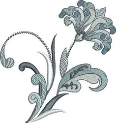 Pat Williams Embroidery Design: Flowing Fleur De Lis Flower 4.92 inches H x 4.65 inches W