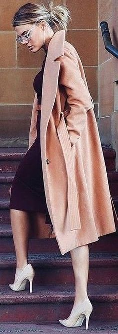 #fall #executive #peonies #outfits |  Peach 'Class Act' Trench Coat   Midi Black Dress