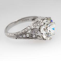 4.5 Carat Old European Cut Antique Diamond Ring Platinum