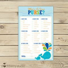 Whale What's In Your Purse Baby Shower Game by stockberrystudio