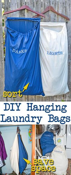 DIY Hanging Lights and Darks Laundry Bags Tutorial AD - These hanging laundry bags save you space and help with sorting laundry. - side bags for ladies, suede bag, women's bags and purses *ad Dark S, Light In The Dark, Diy Hanging, Hanging Lights, Cool Diy Projects, Sewing Projects, Laundry Bags, Laundry Room, Laundry Baskets
