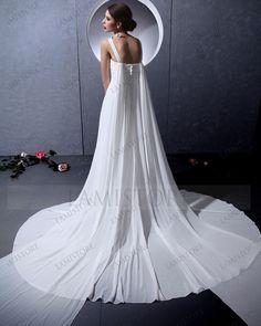 Pure A-line V-neck Chapel Train Chiffon Natural Wedding Dress : Lamistore.com